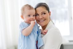 Crown Princess Victoria of Sweden snuggles with daughter Princess Estelle on her first birthday 2/23/13