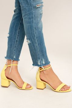 Steve Madden Irenee Yellow Nubuck Leather Ankle Strap Heels! Genuine nubuck leather shapes a minimal toe strap and adjustable ankle strap.