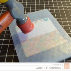 To add some additional texture to the card, but only in one spot: Put the paper into an embossing folder and used a rubber mallet to emboss a small section. *** Snappy Stampin' W/Arielle