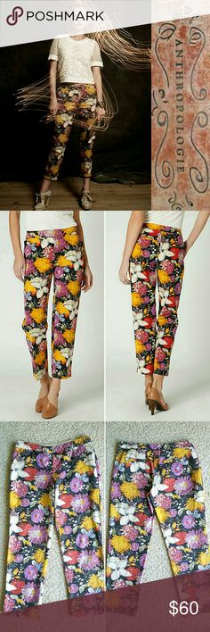 Tropica Crops Elevenses' above-the-ankle poplin slims are covered in brilliantly colored blooms.   *Front, back welt pockets  *Cotton  *Machine wash  Worn once, in excellent LIKE NEW condition. Back pockets are still stitched. Anthropologie Pants Ankle & Cropped