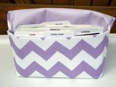 Coupon Organizer /Budget Organizer Holder  / Attaches To You Shopping Cart –  Chevron – Zig Zag – Lavender