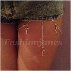 Silver leg thigh chain garter cross pendants body chain