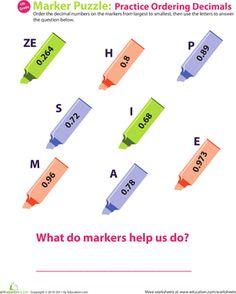 Fourth Grade Decimals Worksheets: Decimal Dash: Practice Ordering Decimals #9