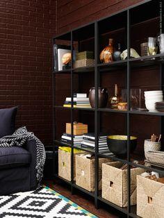 #interior #decor #styling #bookshelves #shelves #storage #livingroom #brick