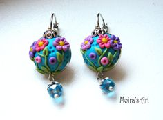Turquoise+Earrings++Delicate+Pink+Flowers++Polymer+by+MoirasArt,+$23.00