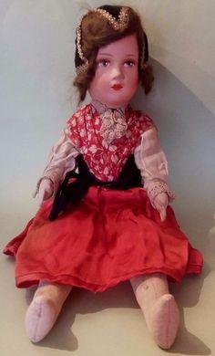 Poupée Lenci Gégé ? Composition et Feutre Habits d'origine Antique Doll