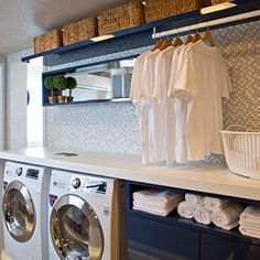 Tons of folding space Hallway Decorating, Stacked Washer Dryer, Laundry Room, Washing Machine, Home Appliances, House Design, Interior Design, Storage, Instagram