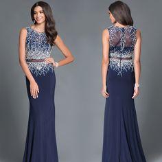 Beaded Sheer Waist Long Prom Dress by Temptation