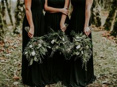 black bridesmaid dresses with greenery - wedding dress ideas Woodsy Wedding, Floral Wedding, Wedding Colors, Wedding Bouquets, Wedding Flowers, Wedding Shoes, Wedding Dresses, Bridesmaid Bouquets, Winter Bridesmaids