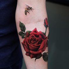 Rose and bee tattoo
