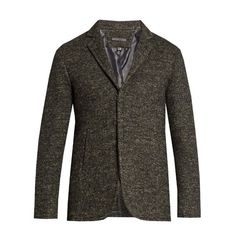 John Varvatos Single-breasted wool and linen-blend jacket ($1,191) ❤ liked on Polyvore featuring men's fashion, men's clothing, men's outerwear, men's jackets, charcoal, mens wool outerwear, mens wool jacket, mens slim jacket and mens slim fit jacket