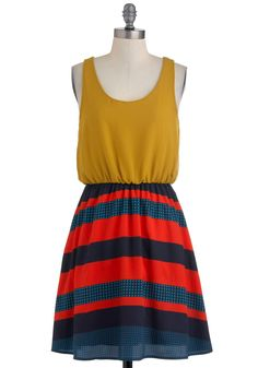 On the Plaza Dress - Yellow, Blue, Stripes, Casual, Twofer, Tank top (2 thick straps), Summer, Mid-length, Red