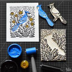 Bluejay : Original Print by Andrea Lauren