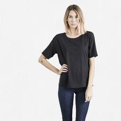 The Drop Shoulder Crew Tee - Black - Everlane