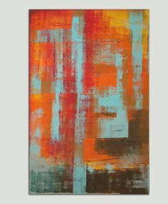 """Large Abstract Schilderij - Colorful Orange blue field - Acrylic painting - 29,5"""" x 45,3"""" - Free Shipping"""