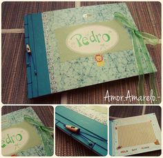 Album de fotos para bebé.  Decoración en cada hoja interior. https://www.facebook.com/pages/AmorAmarelo/226944510789046