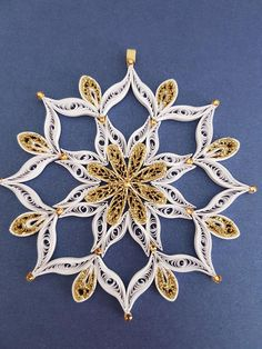 Items similar to Beautiful Quilled Snowfalke Ornament, Christmas Tree Decoration, Decorated With Swarovski Crystals on Etsy Neli Quilling, Paper Quilling Patterns, Quilling Paper Craft, Quilling Cards, Paper Crafts, Quilling Ideas, Christmas Mandala, Quilling Christmas, Etsy Christmas