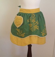 Hand Sewn Handmade Vintage Reversible Green & Yellow Cooking Kitchen Apron Heart Pocket Embroidered Floral Design White Tape Trim 60's-70's by TheRebelThrifter on Etsy