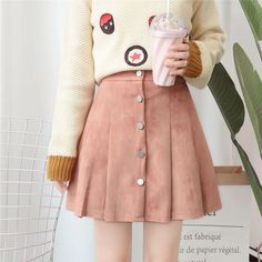 7da0f71c9a Buy Dejay Buttoned Pleated A-Line Skirt   YesStyle Pink Suede Skirt, A Line