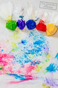 Coffee filter paint brushes for kids!