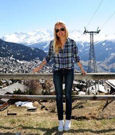 Sofi Fahrman Jeans blue green checkered shirt