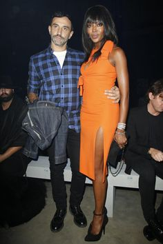 Riccardo Tisci and Naomi Campbell at Versace Spring 2016 Ready-to-Wear