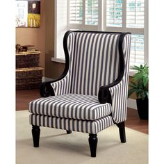 Furniture of America Ravi Transitional Wingback Striped Fabric Accent Chair - Overstock™ Shopping - Great Deals on Furniture of America Living Room Chairs