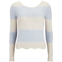 Vero Moda Women's Mirella Jumper - Baby Blue ($39) ❤ liked on Polyvore featuring tops, sweaters, blue, striped crop top, color block sweater, blue sweater, scoop neck sweater and stripe sweater