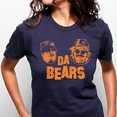 DA BEARS funny chicago cool football snl cubs blackhawks party girls retro tee shirt new s m l xl T-SHIRT Womens Navy e0027. $14.95, via Etsy.