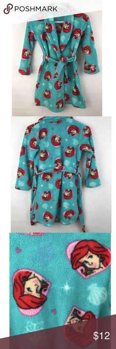 The Little Mermaid Fleece Robe Ariel Kids 7/8 Kids medium. Size 7/8. No pockets. Great condition! No rips or holes. One light stain on inside edge where tie wraps around. See photos. Overall really nice! Disney Pajamas Robes