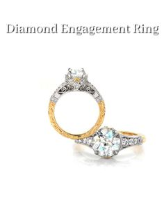 The Rebecca Kristine engagement ring is an antique inspired design that features a 1.50 carat round brilliant diamond. Brilliantly faceted diamonds embellish all angles of the platinum metal while the yellow gold band is detailed with intricate relief hand engraving. Filigree scrolls adorn the side of the ring for a picturesque view. Click on pin for more info.