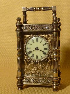 French Decorative Brass Carriage Clock   c.1900