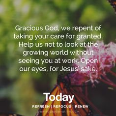 Gracious God, we repent of taking your care for granted. Help us not to look at the growing world without seeing you at work. Open our eyes, for Jesus' sake.