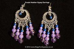 Purple Heather Gypsy Chandelier Earrings by RagsForGypsies on Etsy