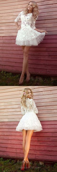 Lace Homecoming Dresses, Cheap Prom Dresses, Girls Graduation Dress, White Cocktail Dress, Spring Casual Dress