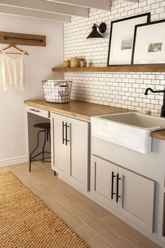 White cabinets butcher block counter 5