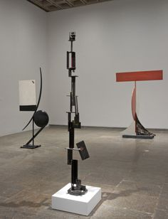 """David Smith: Cubes and Anarchy,"" installation view of exhibition, at Whitney Museum of American Art until January 8, 2011. Left to right: Tanktotem VII, 1960, Construction in Rectangles, and Circle IV, 1962 (all: painted steel). Photograph by Jerry L. Thompson"