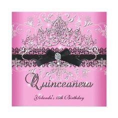 Quinceanera 15th Pink Glitter Tiara Black Bow Custom Invitation by Zizzago