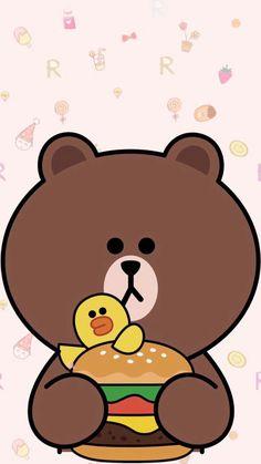 Bown Lines Wallpaper, Brown Wallpaper, Bear Wallpaper, Kawaii Wallpaper, Cartoon Wallpaper, Cute Couple Cartoon, Cute Cartoon, Iphone 7 Wallpapers, Cute Wallpapers