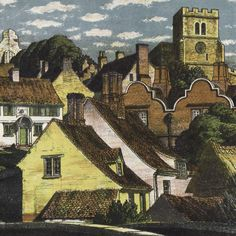 Illustration for 'Village and Town' (Puffin Books) by S. R. Badmin c.1950s