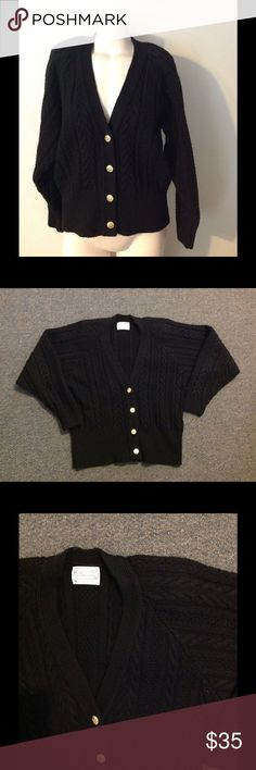 "Vintage Pendleton Black Cable Knit Sweater S M Very nice vintage sweater by Pendleton. Black cable knit pure virgin wool. Marked size Medium. Great condition. Chest 44"" Length 23"" Vintage Sweaters Cardigans"