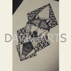 Geometric Dotwork Stippling Wolf Print by DARKHARTS on Etsy
