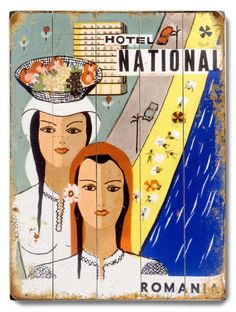 Hotel National Romania Wood Sign Romanian People, Love Posters, Graphic Posters, Framed Artwork, Wall Art, Vintage Hotels, Luggage Labels, Vintage Travel Posters, Eastern Europe