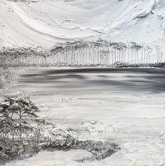 36x36 - Acrylic on Canvas - Lakescape Series- Black & White - Artist, Justin Gaffrey