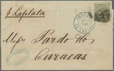 "Great Britain, Michel 15 - 1856, 1 Sh. green with numeral ""18"" and b/s ""LONDON NO 16 59"" on folded letter sent with ship ""La Plata"" to Caracas, Venezuela with blue doubl-cds ""LA GUARDIA DE 10 (1859)"", a rare destination!  Lot condition   Dealer Gärtner Christoph Auktionshaus  Auction Starting Price: 600.00 EUR"