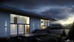 """Cantilever house is a first family house we visualized for Norway. The concept clearly gives the feeling of hovering house, of """"Flying Architecture"""" which might seem unstable, but at the same time is docked to the tough Norwegian rocks. Flying Architecture, Norwegian House, 3d Visualization, Home And Family, Workshop, Mansions, Studio, House Styles, Modern"""