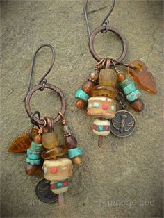 ➳➳➳☮American Hippie Bohemian Boho Bohéme Feathers Gypsy Spirit Style- Jewelry Earrings