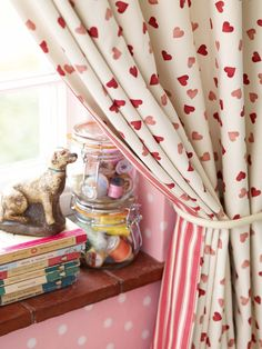 Pink Hearts Curtains