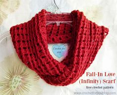 FREE - CROCHET - Fall In Love Crochet Infinity Scarf Pattern ~ easy level ~ finished size scarf: x infinity scarf x around ~ unisex ~ quick, and easy to remember because it only has 2 rows Crochet Infinity Scarf Pattern, Crochet Poncho, Crochet Scarves, Crochet Patterns, Crochet Ideas, Crochet Projects, Scarf Patterns, Poncho Shawl, Crochet Hat For Women