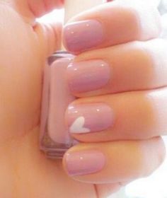Simple and Sweet Nail Arts for Beginners -- Pale Pink & White Heart Nails